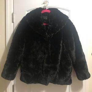 Zara-faux-fur jacket-black S- new